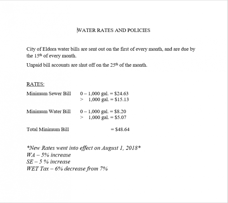 Water Rates & Policies